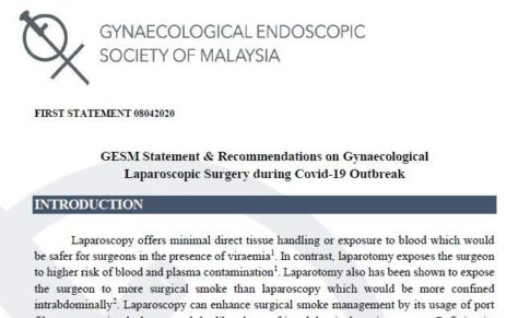 GESM Statement & Recommendations on Gynaecological Laparoscopic Surgery during Covid-19 Outbreak